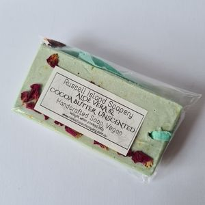 New VEGAN Aloe Vera & Cocoa Butter Unscented Handcrafted Hanging Soap 80g